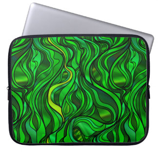 Green Stained Glass Abstract Laptop Computer Sleeves