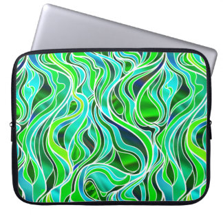 Green Stained Glass Abstract Laptop Sleeves