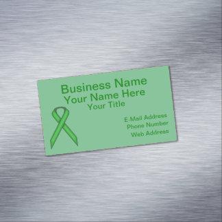 Green Standard Ribbon Business Card Magnet