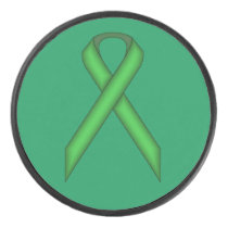 Green Standard Ribbon by Kenneth Yoncich Hockey Puck