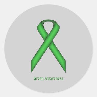 Green Standard Ribbon Classic Round Sticker