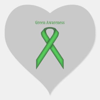 Green Standard Ribbon Heart Sticker