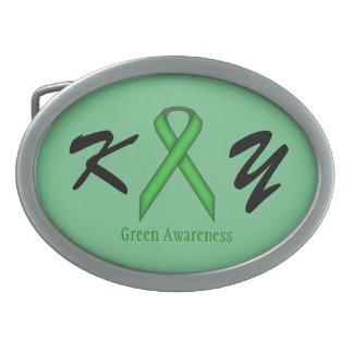 Green Standard Ribbon Oval Belt Buckle