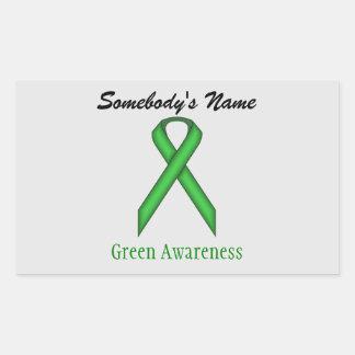 Green Standard Ribbon Rectangular Sticker