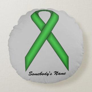 Green Standard Ribbon Round Pillow