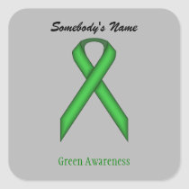Green Standard Ribbon Square Sticker