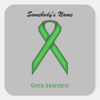 Green Standard Ribbon Square Sticker