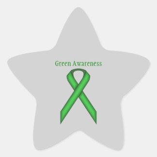 Green Standard Ribbon Star Sticker