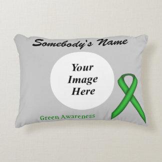 Green Standard Ribbon Template Decorative Pillow