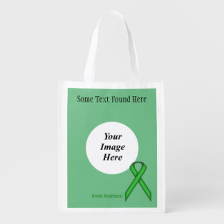 Green Standard Ribbon Template Grocery Bag