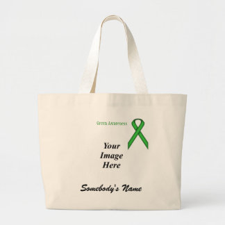 Green Standard Ribbon Template Large Tote Bag