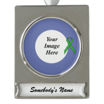 Green Standard Ribbon Template Silver Plated Banner Ornament
