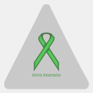 Green Standard Ribbon Triangle Sticker