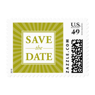 Green Star Burst Save the Date Stamp