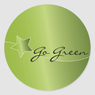 Green star design classic round sticker