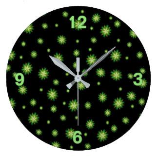 Green Star Fantasy Round Wall Clocks