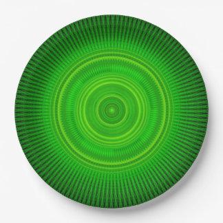 Green Star Formation Mandala Paper Plate