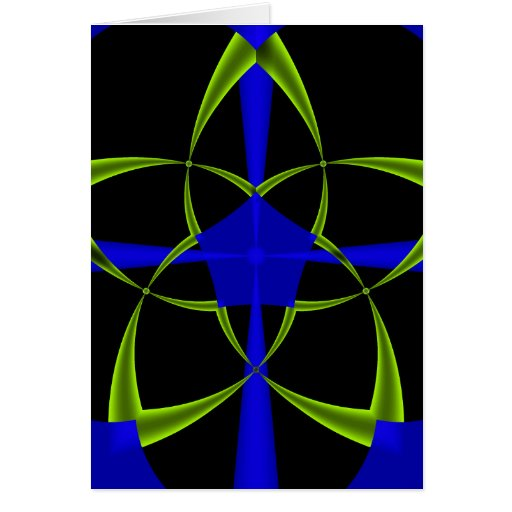 Green Star Fractal Greeting Cards