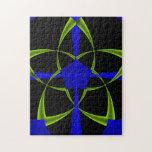 Green Star Fractal Jigsaw Puzzles