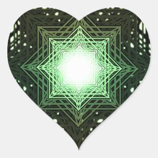 Green Star Heart Sticker