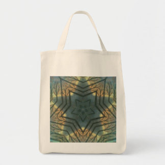Green star kaleidoscope grocery tote bag