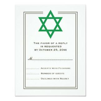 Green Star of David Bar Mitzvah reply card