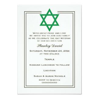 Green Star of David double border Bar Mitzvah 5x7 Paper Invitation Card
