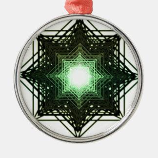 Green Star Round Metal Christmas Ornament