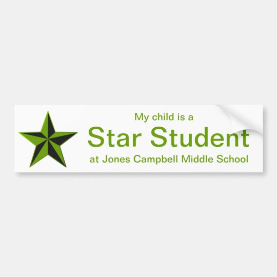 Green Star Student Honor Roll Bumper Sticker