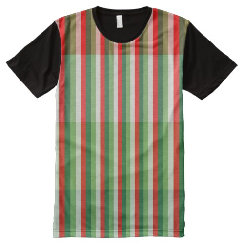 Green Star White and Red Stipe Overlay Pattern All_Over_Print T_Shirt