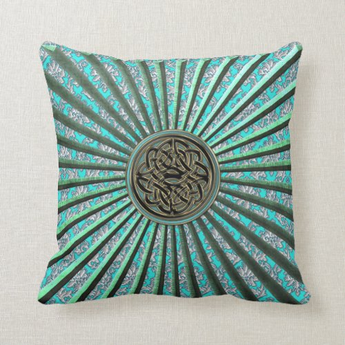 Green Star with Damask and Celtic Knot Pillow