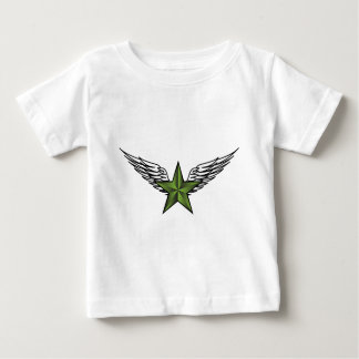 Green Star with Wings Baby T-Shirt