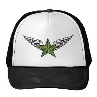 Green Star with Wings Trucker Hat