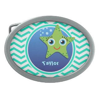 Green Starfish; Aqua Green Chevron Oval Belt Buckle