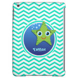 Green Starfish; Aqua Green Chevron Cover For iPad Air
