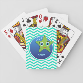 Green Starfish; Aqua Green Chevron Card Decks