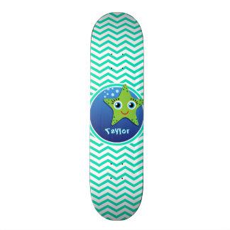 Green Starfish; Aqua Green Chevron Skate Board