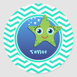 Green Starfish; Aqua Green Chevron Stickers