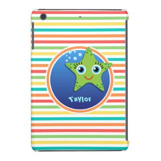 Green Starfish; Bright Rainbow Stripes iPad Mini Case