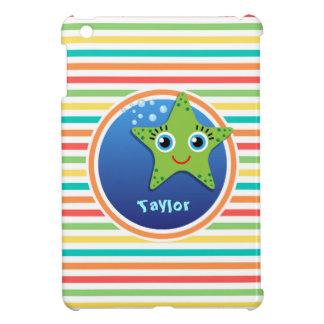 Green Starfish; Bright Rainbow Stripes Case For The iPad Mini