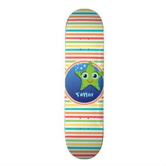 Green Starfish; Bright Rainbow Stripes Skate Boards