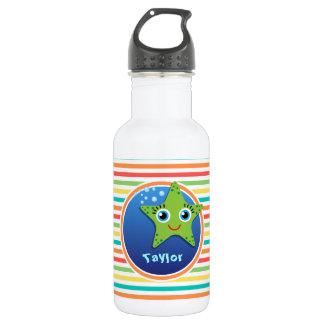 Green Starfish; Bright Rainbow Stripes Water Bottle