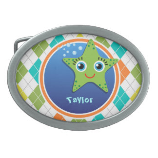 Green Starfish on Colorful Argyle Pattern Belt Buckles