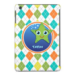 Green Starfish on Colorful Argyle Pattern iPad Mini Covers