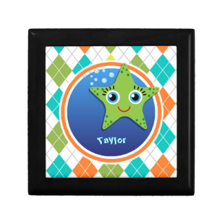 Green Starfish on Colorful Argyle Pattern Keepsake Box