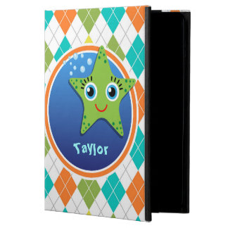 Green Starfish on Colorful Argyle Pattern iPad Air Cases