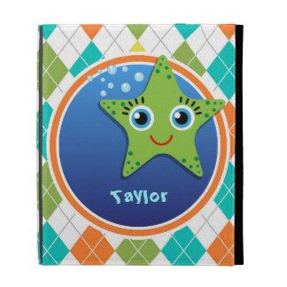 Green Starfish on Colorful Argyle Pattern iPad Folio Cover