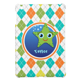 Green Starfish on Colorful Argyle Pattern Cover For The iPad Mini