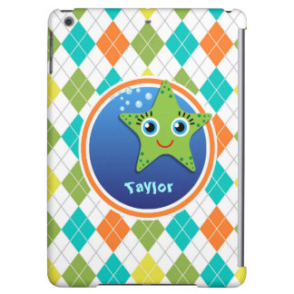 Green Starfish on Colorful Argyle Pattern Cover For iPad Air