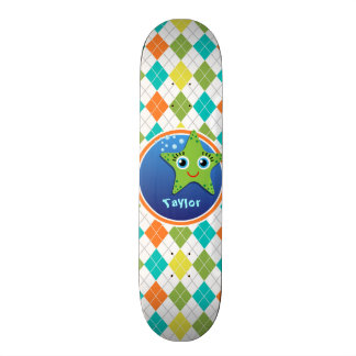 Green Starfish on Colorful Argyle Pattern Skate Board